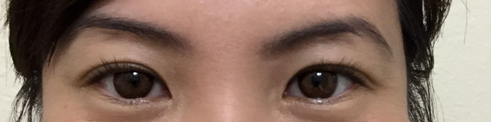 Curled lashes, no mascara.